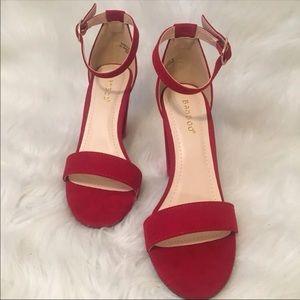 Red single strap heels